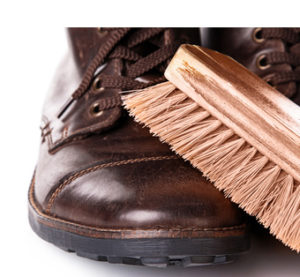 Cleaning brush and leather boots